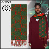 GUCCI Monogram Unisex Wool Scarves