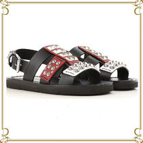 PRADA Open Toe Rubber Sole Casual Style Studded Leather Sandals
