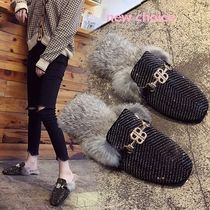 Platform Casual Style Faux Fur Blended Fabrics Street Style