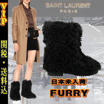 Saint Laurent Round Toe Faux Fur Plain Elegant Style Ankle & Booties Boots
