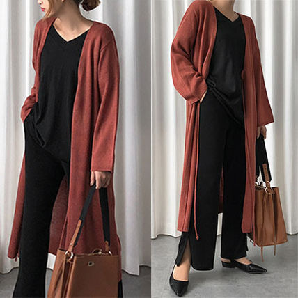 Casual Style Nylon Long Sleeves Plain Long Gowns Dark Brown