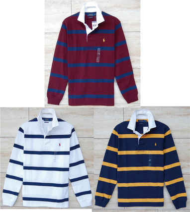 Ralph Lauren Polos Stripes Street Style Long Sleeves Cotton Polos Surf Style