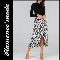 Leopard Patterns Casual Style Medium Midi Skirts