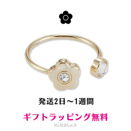 Casual Style Flower Brass With Jewels Rings
