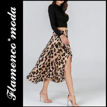 Leopard Patterns Casual Style Long Maxi Skirts