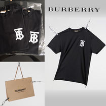 Burberry B Series Crew Neck Plain Cotton Medium Short Sleeves T-Shirts