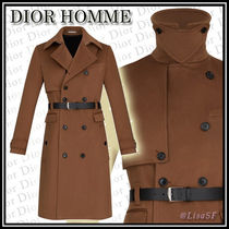 DIOR HOMME Wool Plain Long Trench Coats