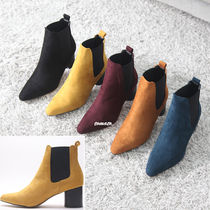 Casual Style Suede Plain Block Heels Chelsea Boots
