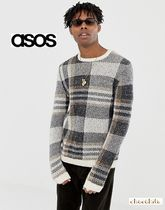 ASOS Crew Neck Other Check Patterns Street Style Long Sleeves