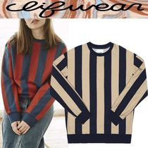 CLIF WEAR Stripes Casual Style Unisex Studded U-Neck Long Sleeves