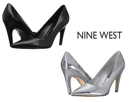 2c3c7563ee0c ... Nine West Stiletto Plain Leather Pin Heels Elegant Style Stiletto Pumps    Mules ...