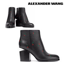 Alexander Wang Flower Patterns Plain Toe Casual Style Leather Chunky Heels