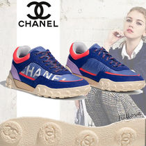 CHANEL Round Toe Rubber Sole Casual Style Unisex Blended Fabrics
