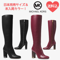 Michael Kors Rubber Sole Casual Style Plain Leather High Heel Boots