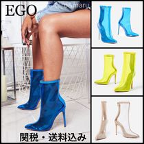 EGO Casual Style Plain Pin Heels Ankle & Booties Boots