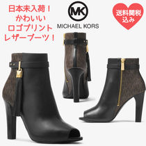 Michael Kors Monogram Open Toe Rubber Sole Casual Style Tassel Leather