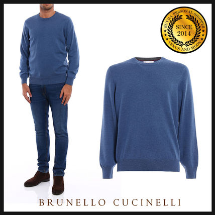 Crew Neck Pullovers Cashmere Long Sleeves Plain