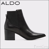 ALDO Plain Leather Block Heels Chelsea Boots Elegant Style