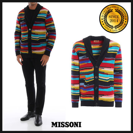 Button-down Stripes Wool V-Neck Long Sleeves