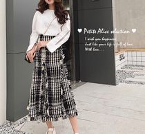 Flared Skirts Tartan Zigzag Casual Style Tweed Street Style