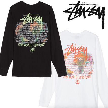 STUSSY Long Sleeve Crew Neck Pullovers Unisex Street Style Tie-dye Long Sleeves