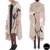 VALENTINO Flower Patterns Wool Long Oversized Elegant Style Coats