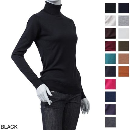 Wool Long Sleeves Elegant Style Turtlenecks
