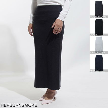 Wool Long Elegant Style Maxi Skirts