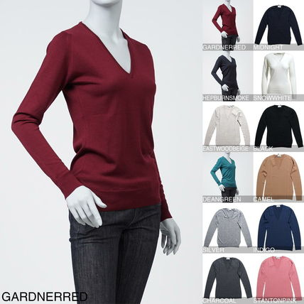 Wool V-Neck Long Sleeves Elegant Style Sweaters