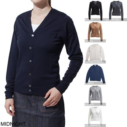 Wool Long Sleeves Medium Elegant Style Cardigans