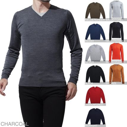 Wool V-Neck Long Sleeves Knits & Sweaters