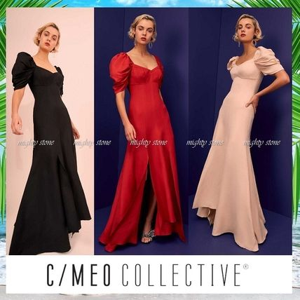 A-line V-Neck Plain Long Bold Dresses