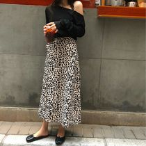 Flared Skirts Leopard Patterns Casual Style Cotton Long