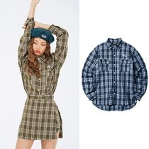 NASTYKICK Gingham Casual Style Street Style Long Sleeves Cotton Medium