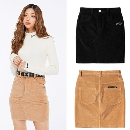 Pencil Skirts Short Corduroy Street Style Plain Skirts