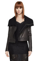 BCBG MAXAZRIA Short Plain Leather Biker Jackets