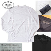 PRADA Crew Neck Long Sleeves Plain Cotton Long Sleeve T-Shirts