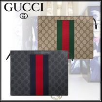 GUCCI Stripes Monogram Unisex Canvas Street Style Clutches