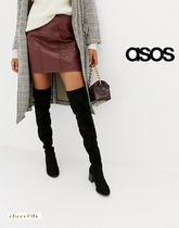 ASOS Round Toe Casual Style Plain Block Heels Over-the-Knee Boots