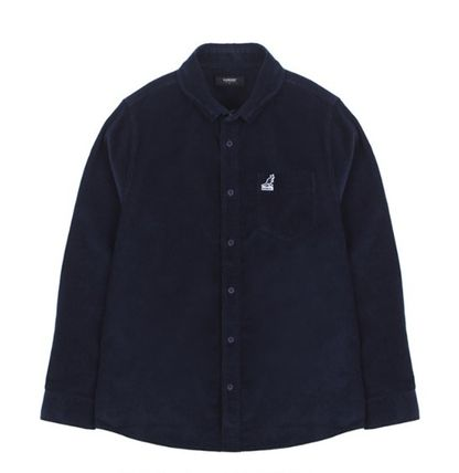 Kangol Shirts Street Style Long Sleeves Plain Cotton Shirts