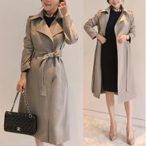 Plain Long Office Style Trench Coats