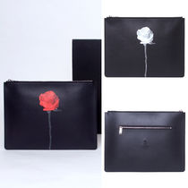 SAMO ONDOH Flower Patterns Faux Fur Elegant Style Clutches