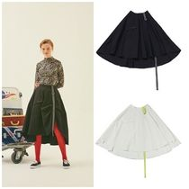 ANOTHER A Flared Skirts Casual Style Plain Cotton Medium Midi Skirts