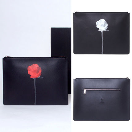 Flower Patterns Unisex Faux Fur Plain Clutches