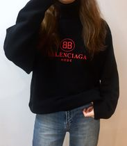 BALENCIAGA Wool Long Sleeves Medium Elegant Style Sweaters