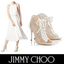 Jimmy Choo Open Toe Blended Fabrics Plain Pin Heels Elegant Style