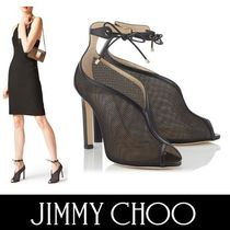 Jimmy Choo Open Toe Plain Pin Heels Elegant Style Ankle & Booties Boots