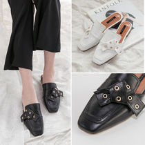 Square Toe Casual Style Faux Fur Studded Plain Block Heels