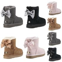 UGG Australia MINI BAILEY BOW Sheepskin Plain Flat Boots