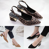 Leopard Patterns Suede Elegant Style Chunky Heels